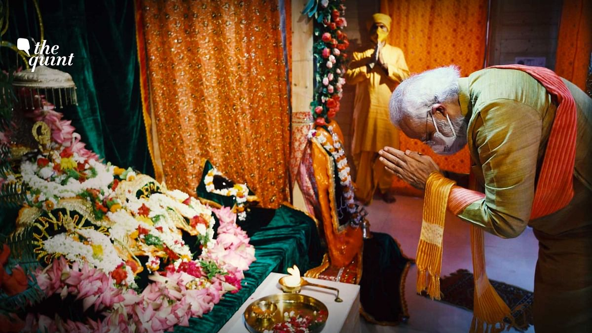 Image of PM Modi at the Ram Janmabhoomi in Ayodhya, on Wednesday, 5 August 2020, used for representational purposes.