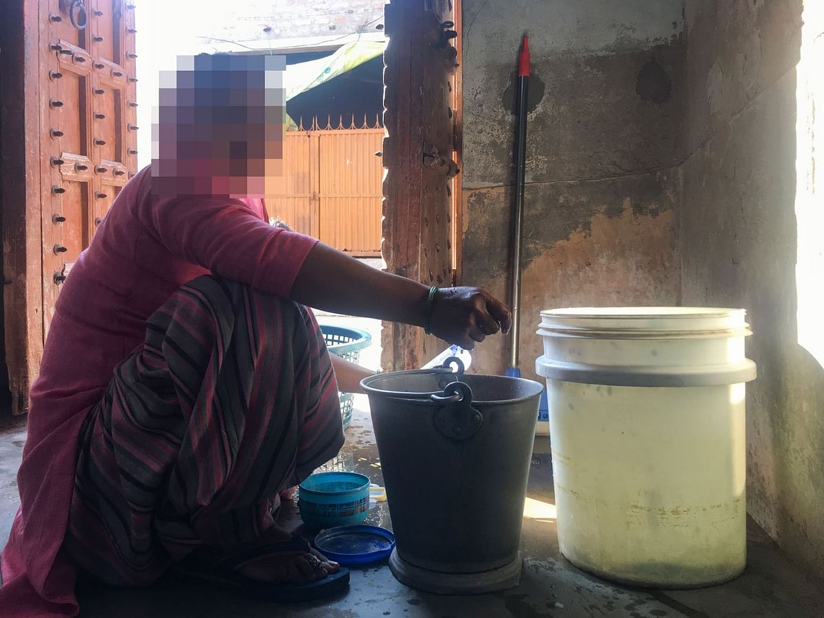 Sana Khan washing dishes in her home; she wanted to be a teacher after her degree in Education. 'Women have no option but to make adjustments,' she says.