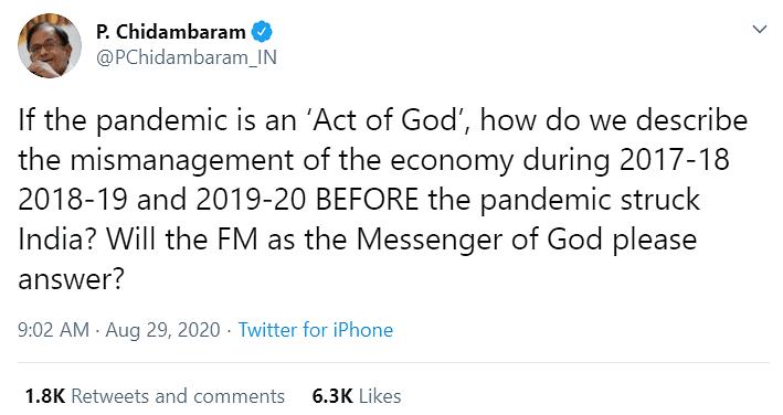 'Will Messenger of God Answer?': Chidambaram Slams FM on Economy