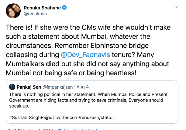 Renuka Urges Amruta Fadnavis to Not Politicize Sushant's Death