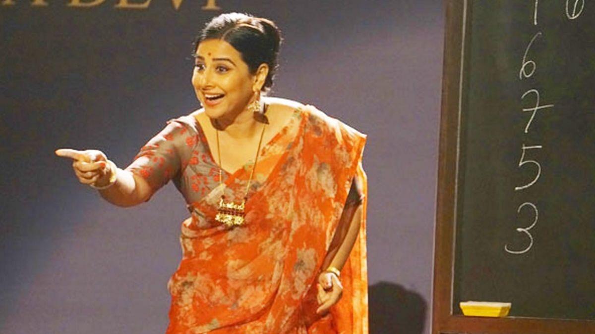 Vidya Balan in and as Shakuntala Devi.