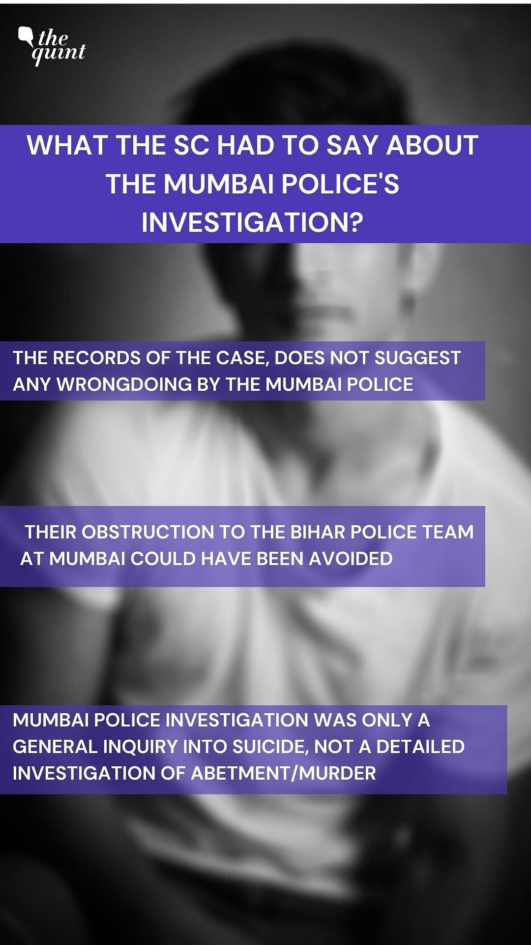 Supreme Court on Mumbai police's investigation.