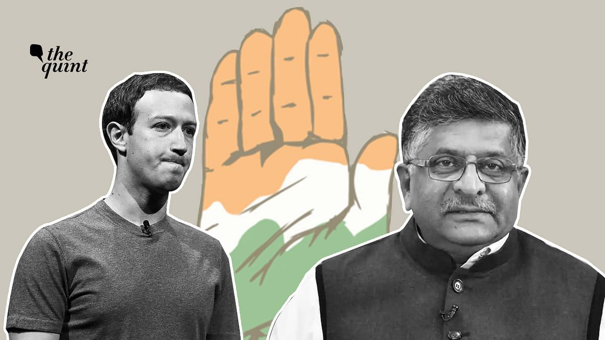 Facebook CEO Mark Zuckerberg (L) and Indian Law & IT Minister Ravi Shankar Prasad (R).