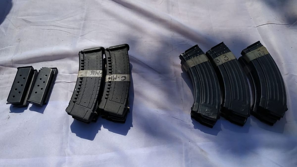The 124th Battalion of the BSF seized three AK-47 rifles, six round magazines, among other arms.