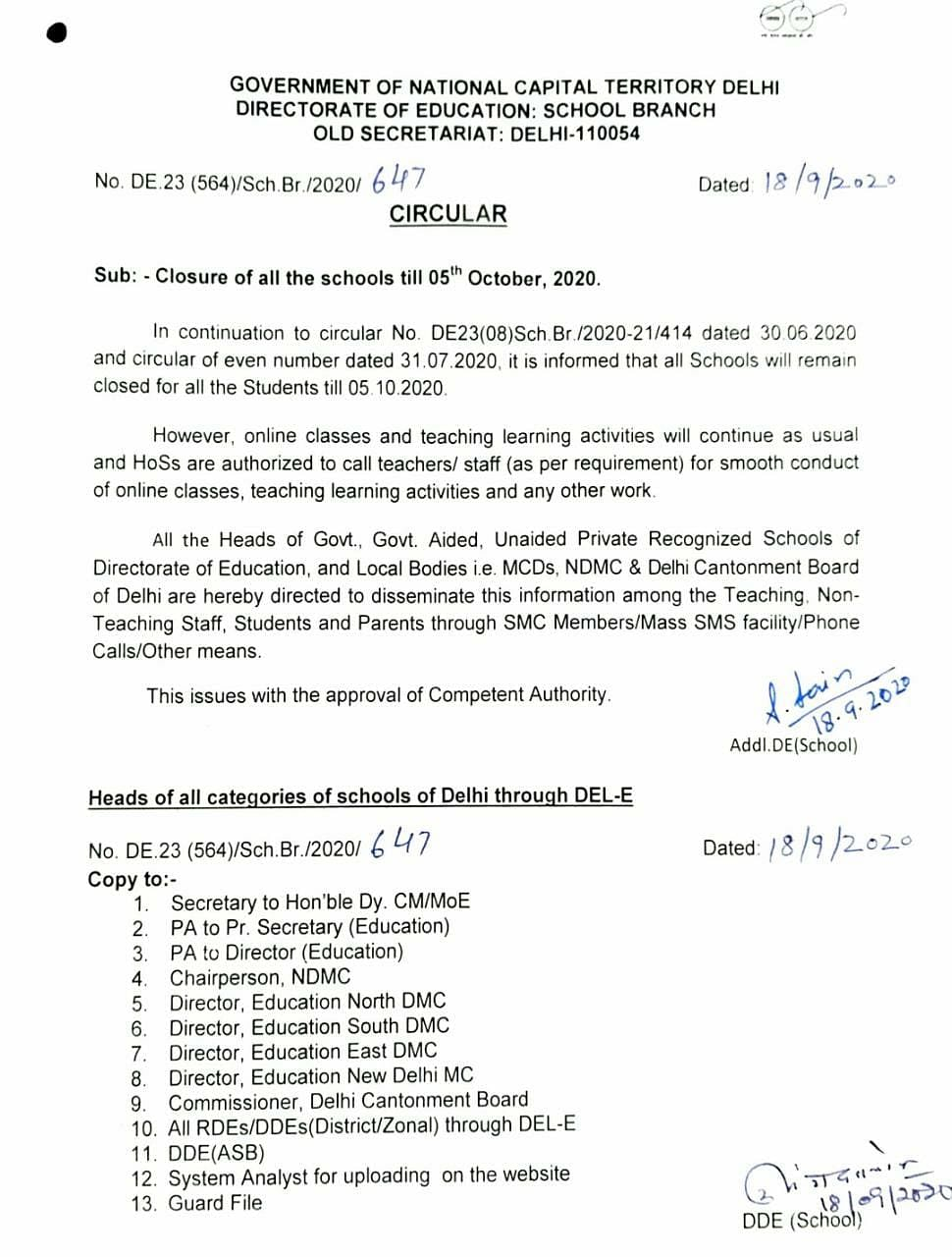 Delhi government's order on reopening of schools.