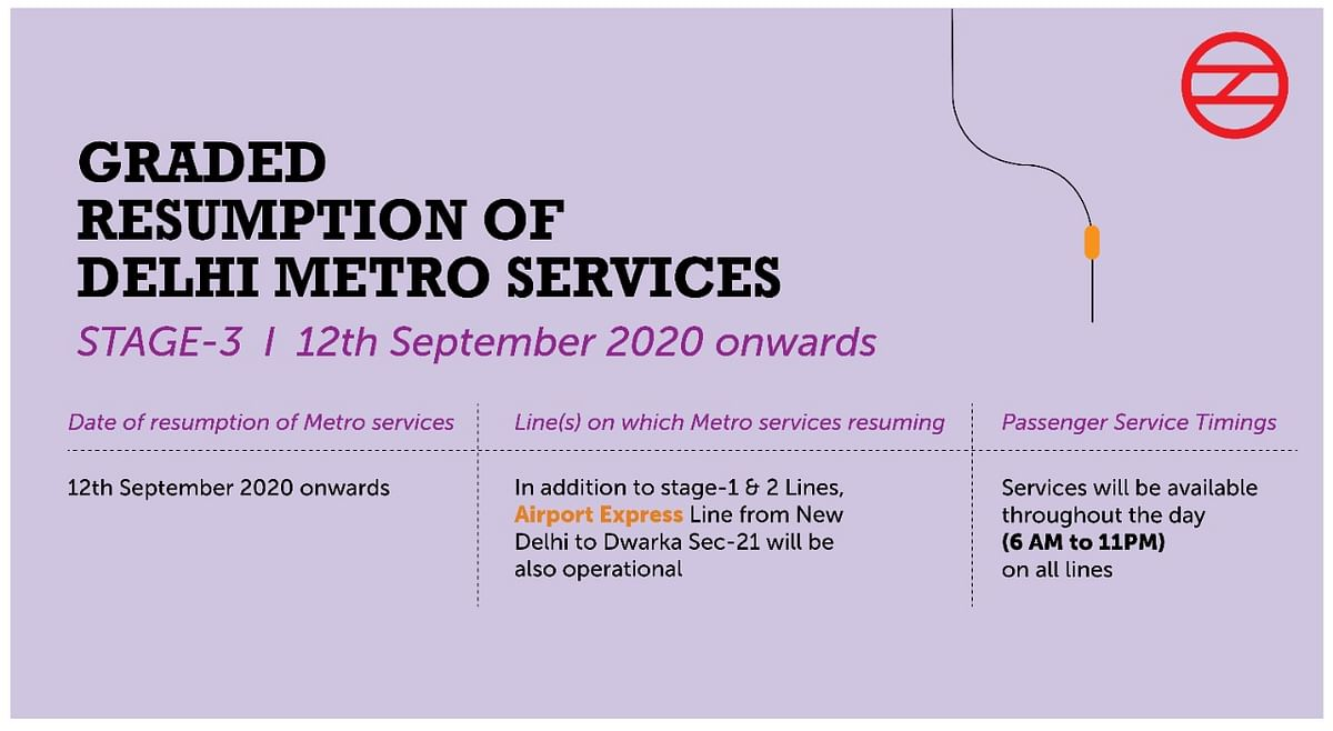 Delhi Metro Operation Hours and Routes on 12 September and onwards