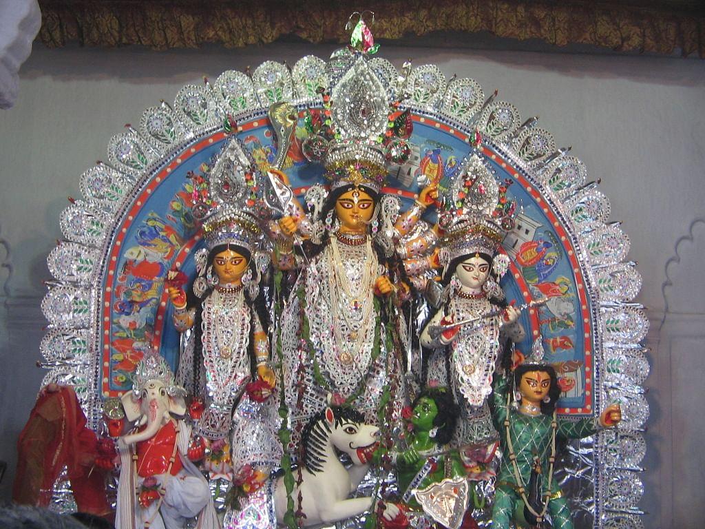 Durga idol from Sovabazar Rajbari puja