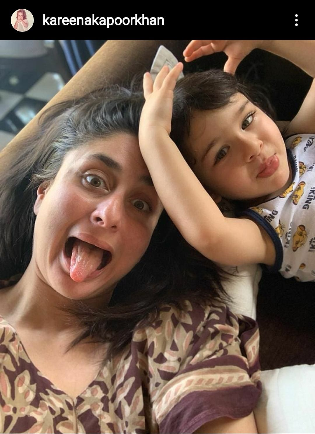 """""""This pretty much sums up mother's day and well... every other day with Tim ❤️😂"""" - Kareena Kapoor Khan"""