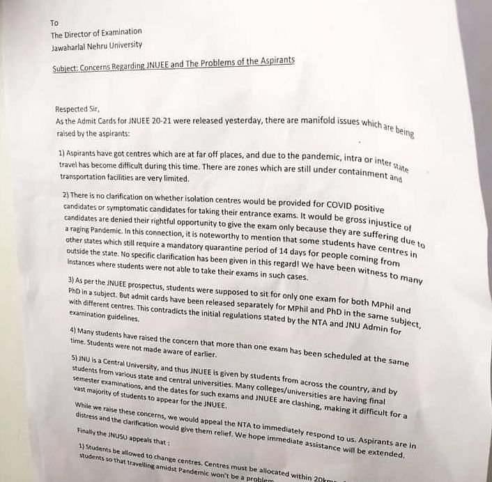 The JNU student union has written to the administration requesting to change the exam dates.