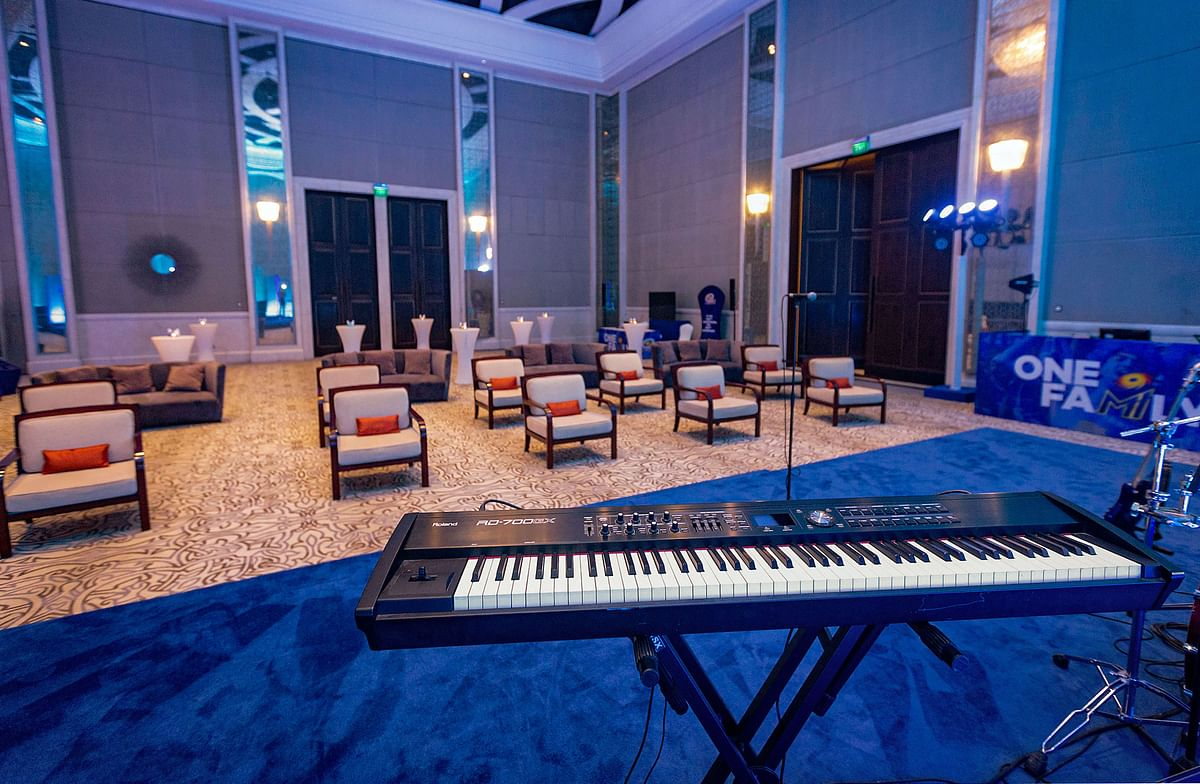 The recreational room also has karaoke and other musical equipments.