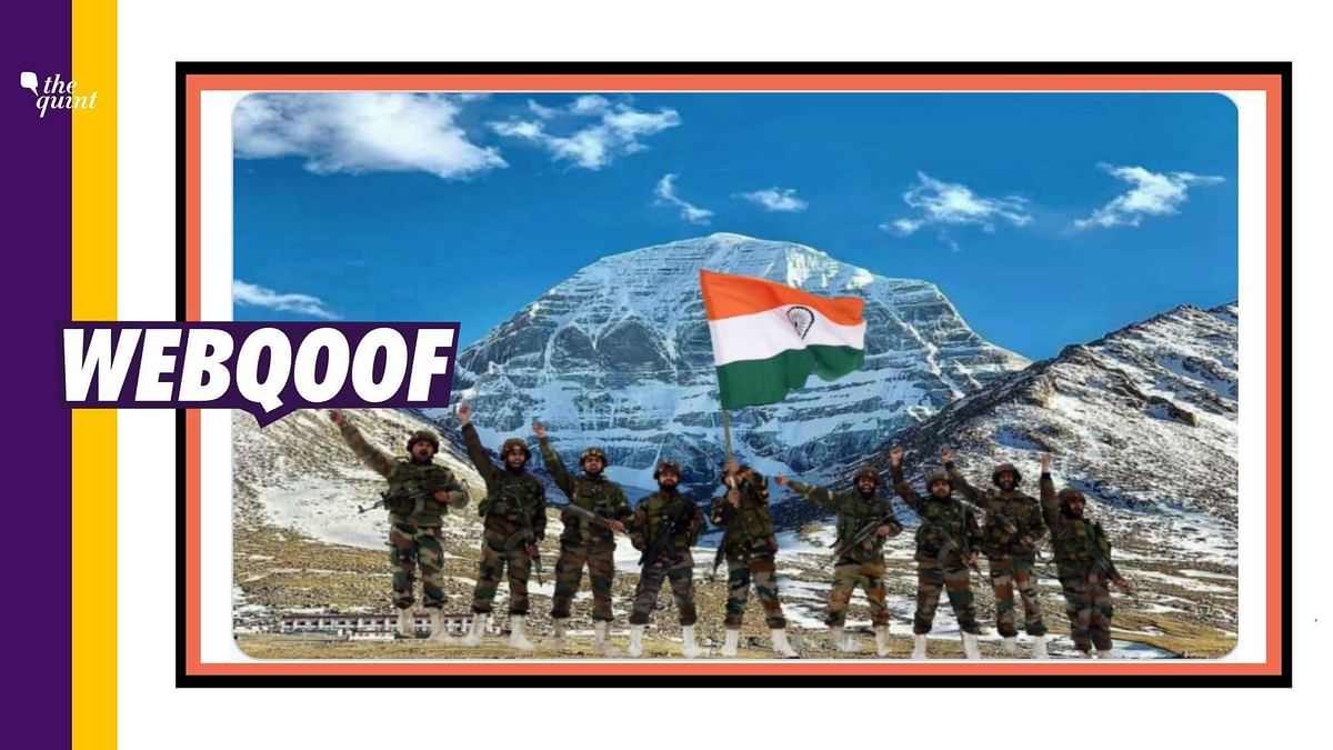 The photograph has been morphed on the background of Mansarovar and it actually shows soldiers of the Indian Army waving the tricolour at the Line of Control (L
