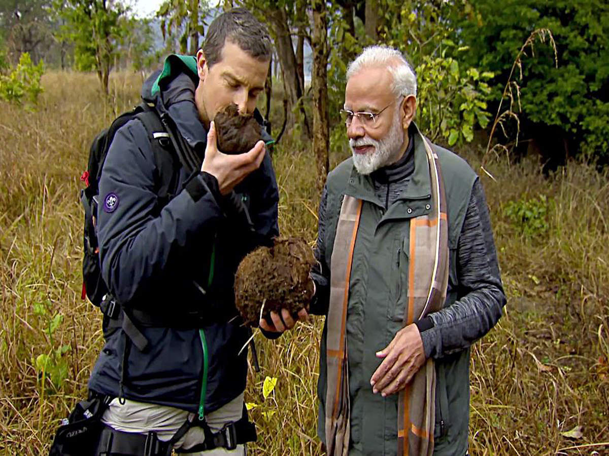 Narendra Modi and Bear Grylls in an episode from <i>Man vs Wild</i>.