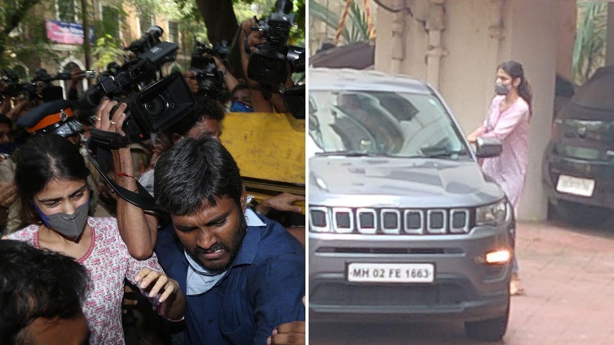 Rhea Chakraborty arrives at NCB's office in Mumbai.