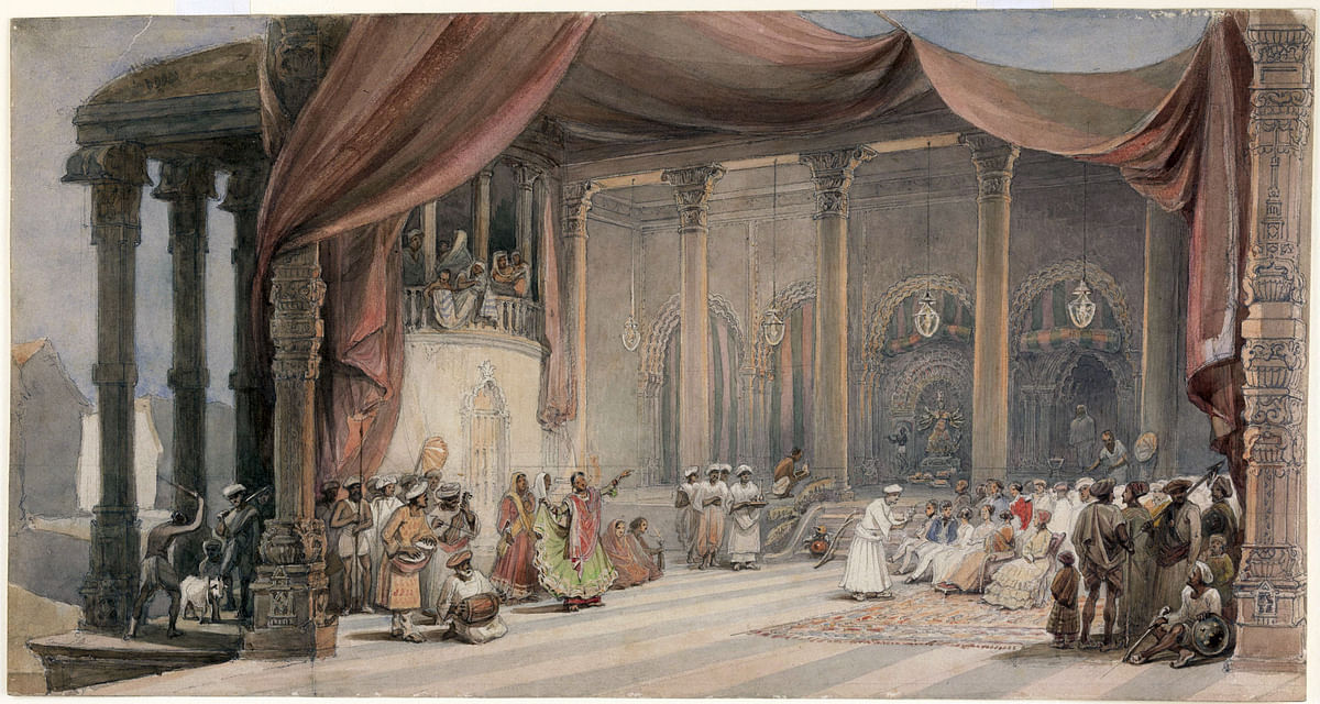 William Prinsep's painting depicting European guests being entertained during Durga Puja.