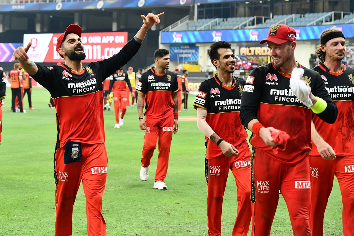 Captain of RCB Virat Kohli, Yuzvendra Chahal and AB be Villers celebrate the win against Sun Risers Hyderabad, the match 3 of season 13 of Dream 11 Indian Premier League (IPL) between Sunrisers Hyderabad and Royal Challengers Bangalore.