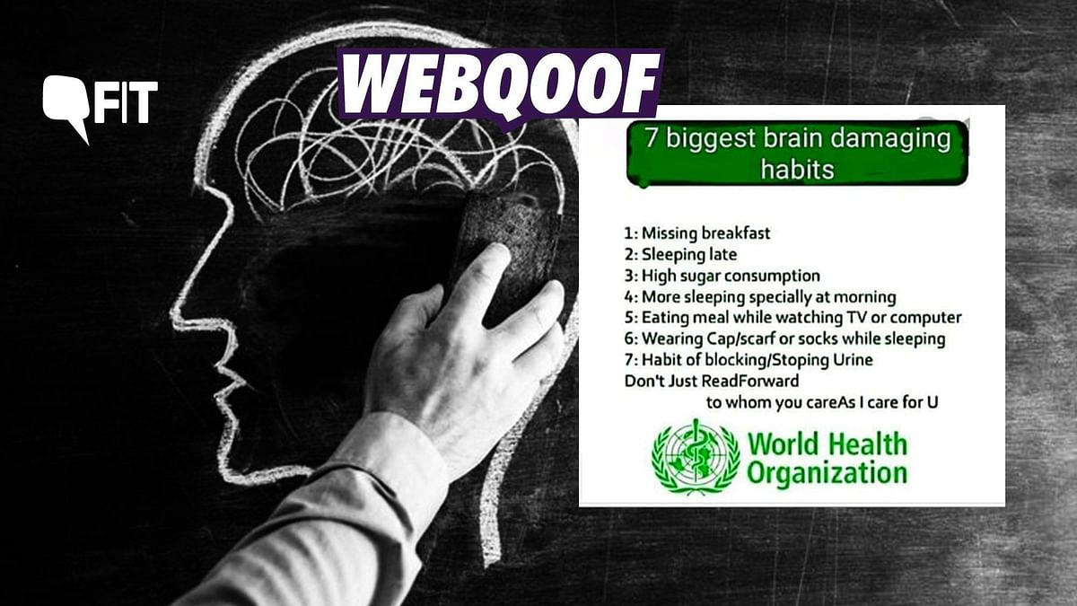 Fact Check: Image of '7 Brain Damaging Habits' by WHO is Fake