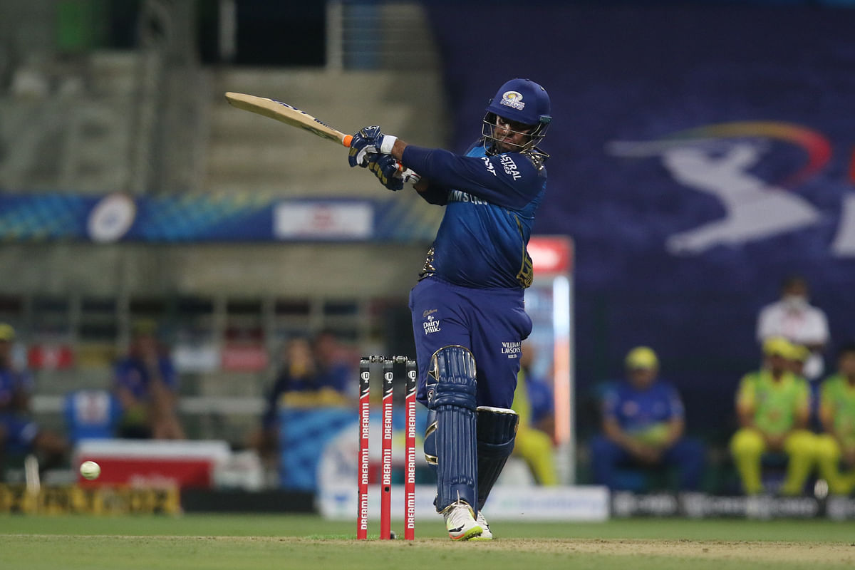 Saurabh Tiwary coming in at number 4 for Mumbai Indians, hit the first six of the tournament