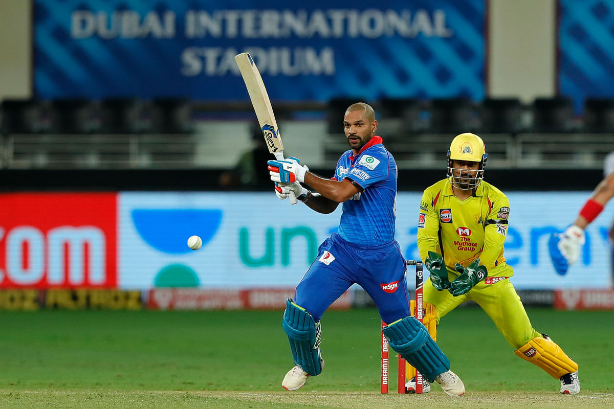 Shikhar Dhawan tried a reverse sweep but ended up taking the ball on the pads.