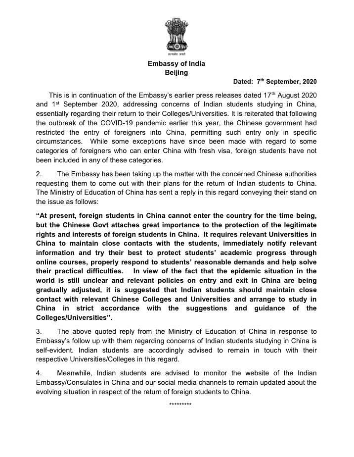 Press Release by Chinese Embassy