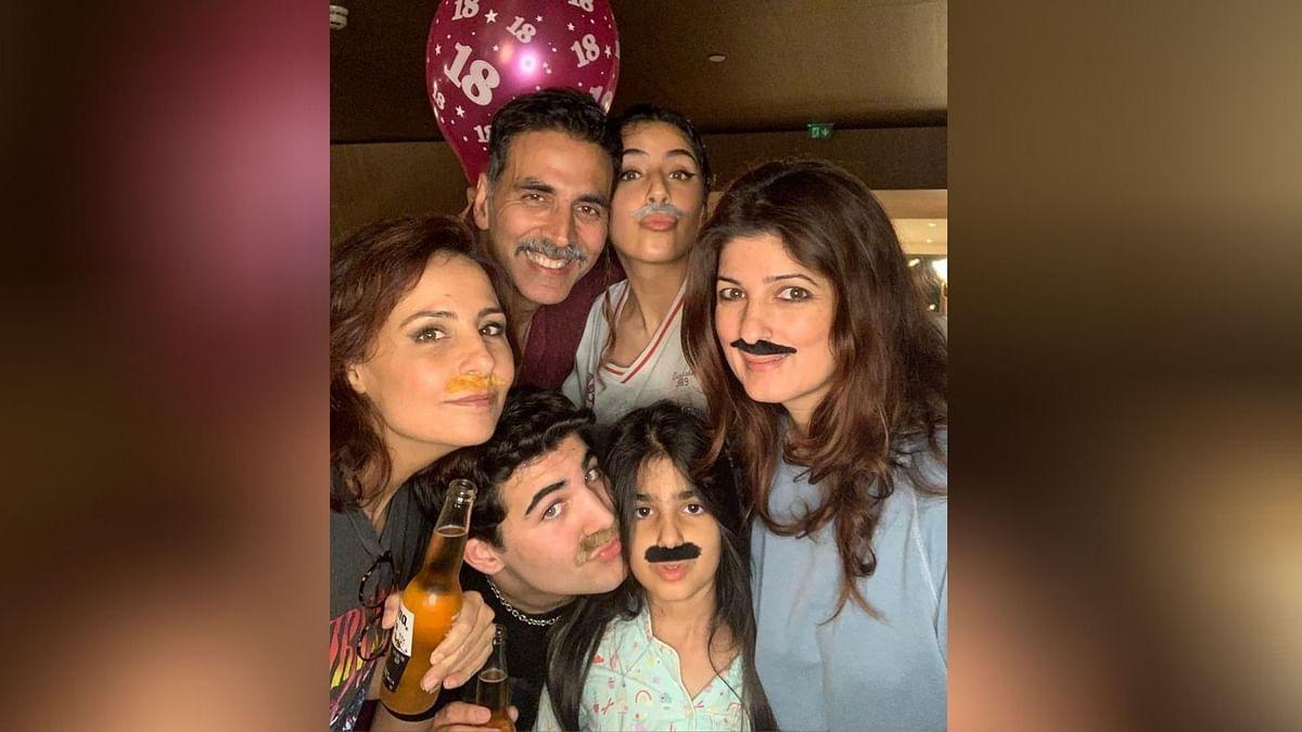 Twinkle Khanna and family.