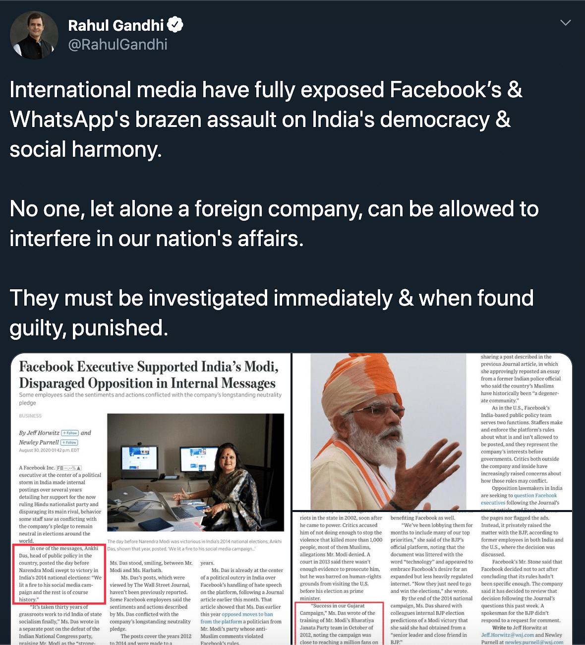 'Assault on Democracy Exposed': Rahul Gandhi on Facebook-BJP Row
