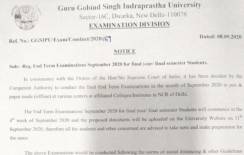 New circular by the University.