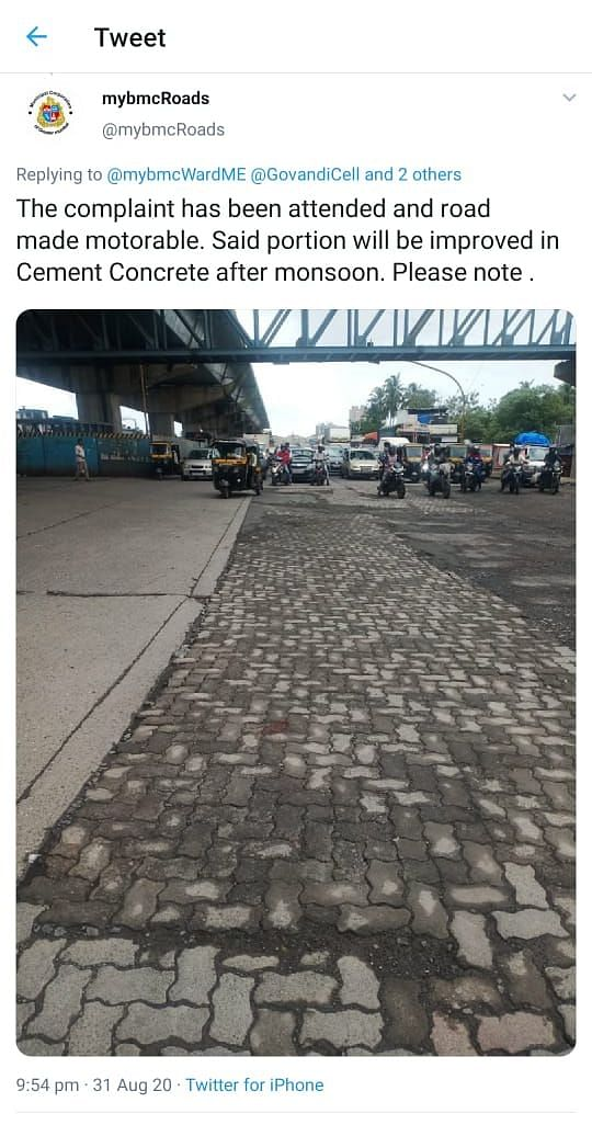 BMC fixed the potholes temporarily some days ago.