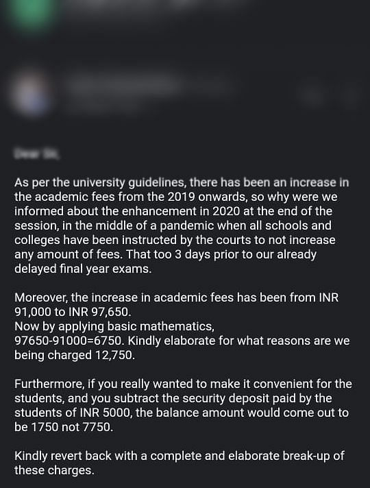 Student's email to the administration.