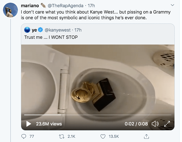 Twitter Reacts to Kanye West Urinating on His Grammy Award