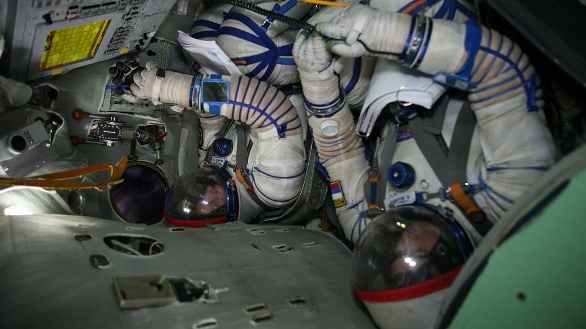 Indian astronauts undergoing training in Russia.