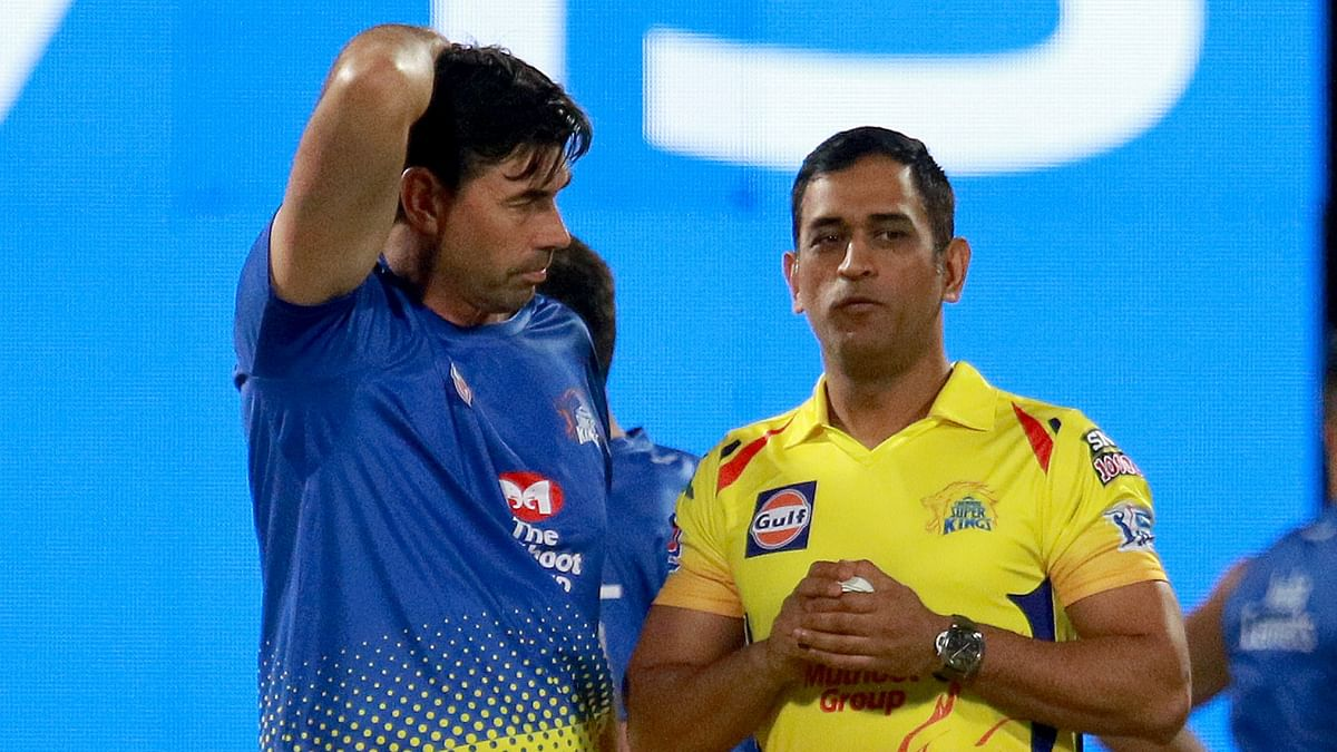 MS Dhoni with CSK's coach Stephen Fleming.