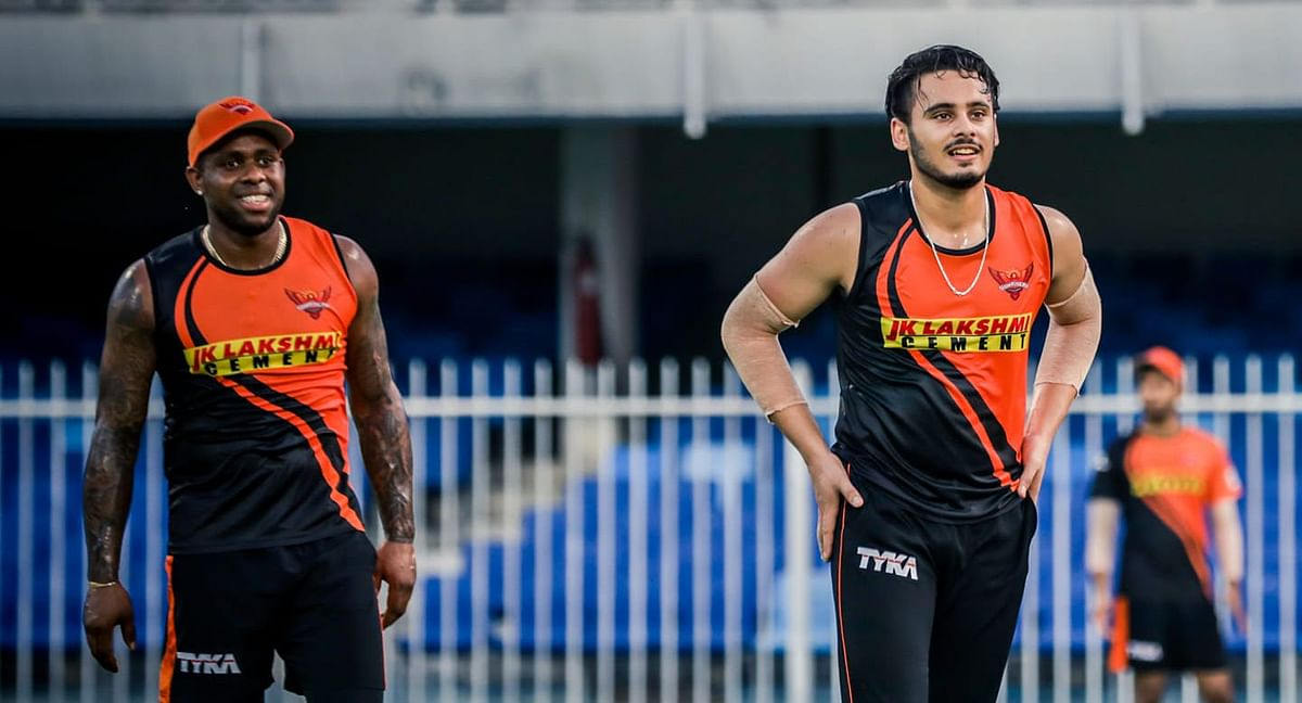 Fabian Allen and Abdul Samad during a practice session ahead of IPL 2020.