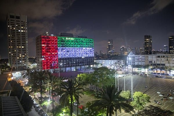 After news of the deal, Tel Aviv's city hall was lit up with the UAE flag