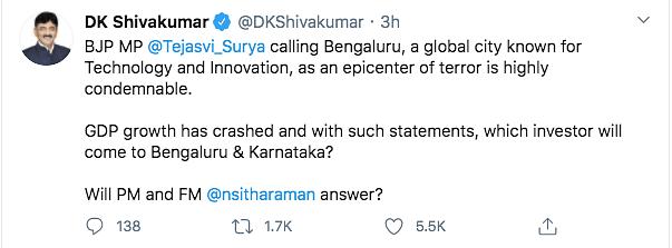 Tejasvi Surya Calls Bengaluru Terror Hub, Opposition Lashes Out