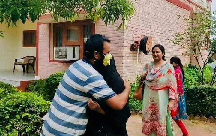 Dr Kafeel meets his family after over 200 days in jail.