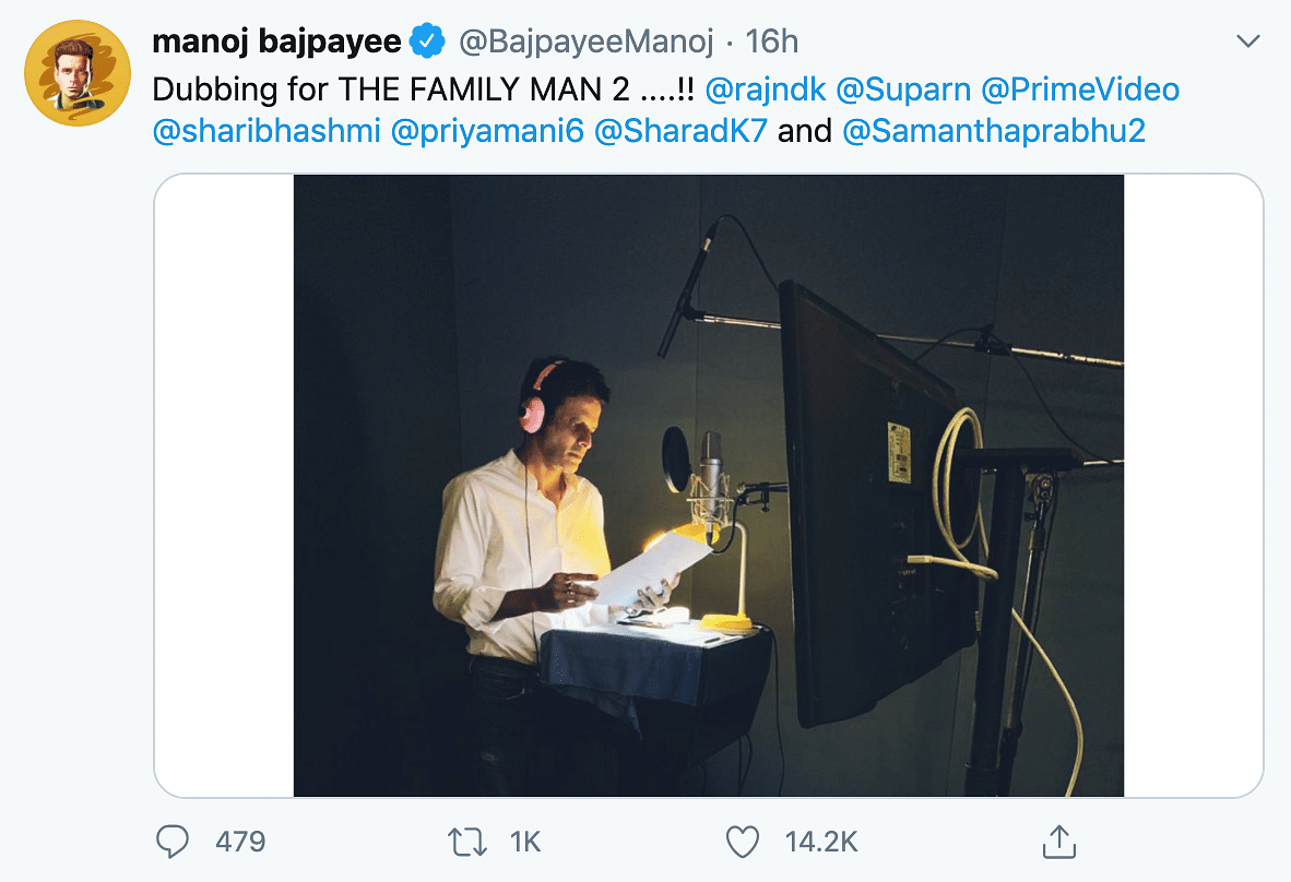 Manoj Bajpayee dubbing for the second season of 'The Family Man'.