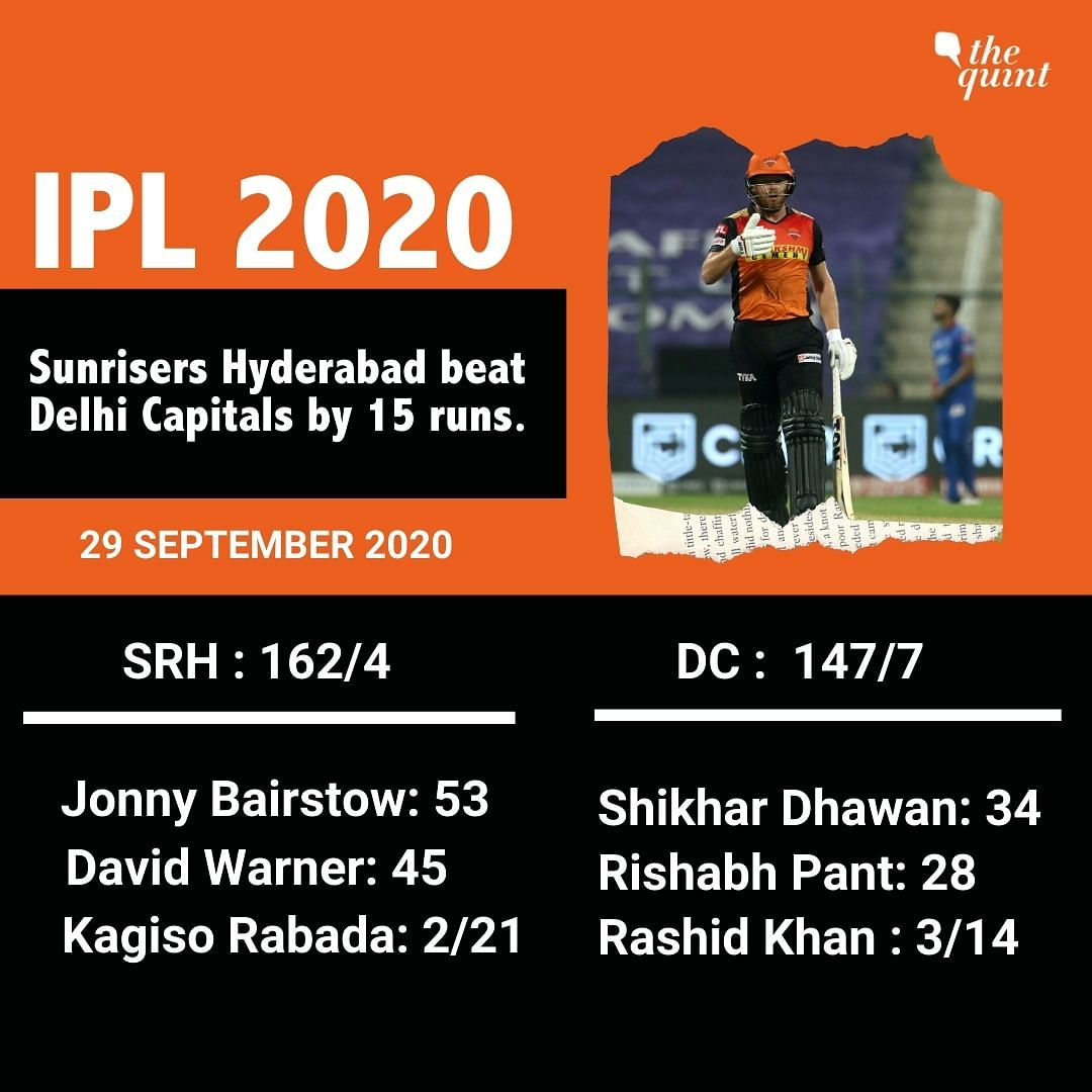 Delhi Capitals vs Sunrisers Hyderabad scorecard