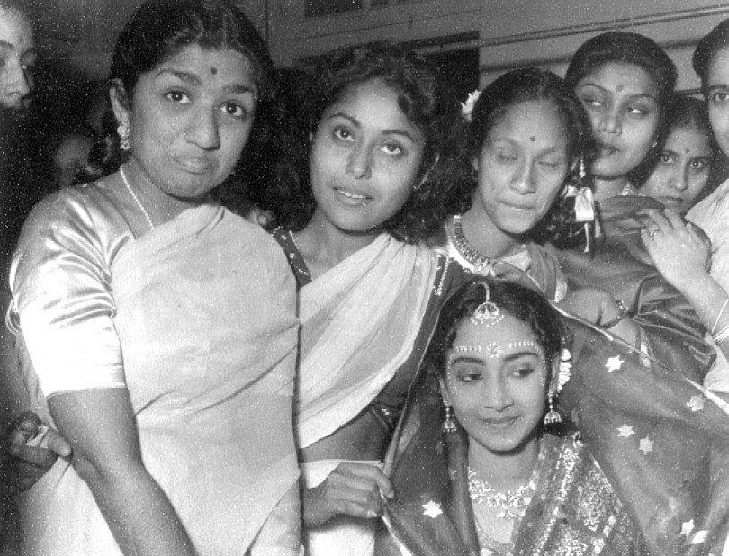 Smriti Biswas seen here beside Lata Mangeshkar at Geeta Dutt's wedding.