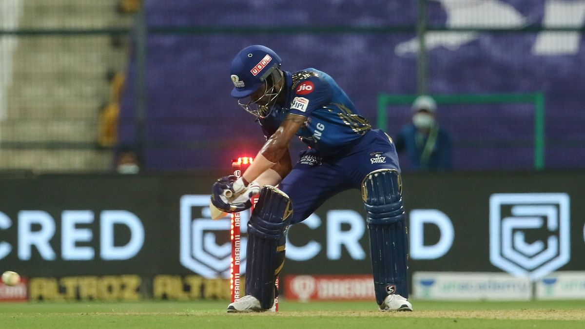 Hardik Pandya of Mumbai Indians gets out as he hits wicket during match 5 of season 13 of the Dream 11 Indian Premier League (IPL) between the Kolkata Knight Riders and the Mumbai Indians held at the Sheikh Zayed Stadium.