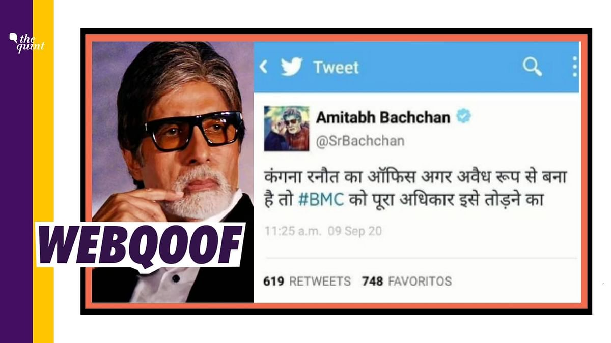 A fake tweet is being widely circulated to falsely claim that Amitabh Bachchan has shared it and commented on demolition carried out by BMC officials.