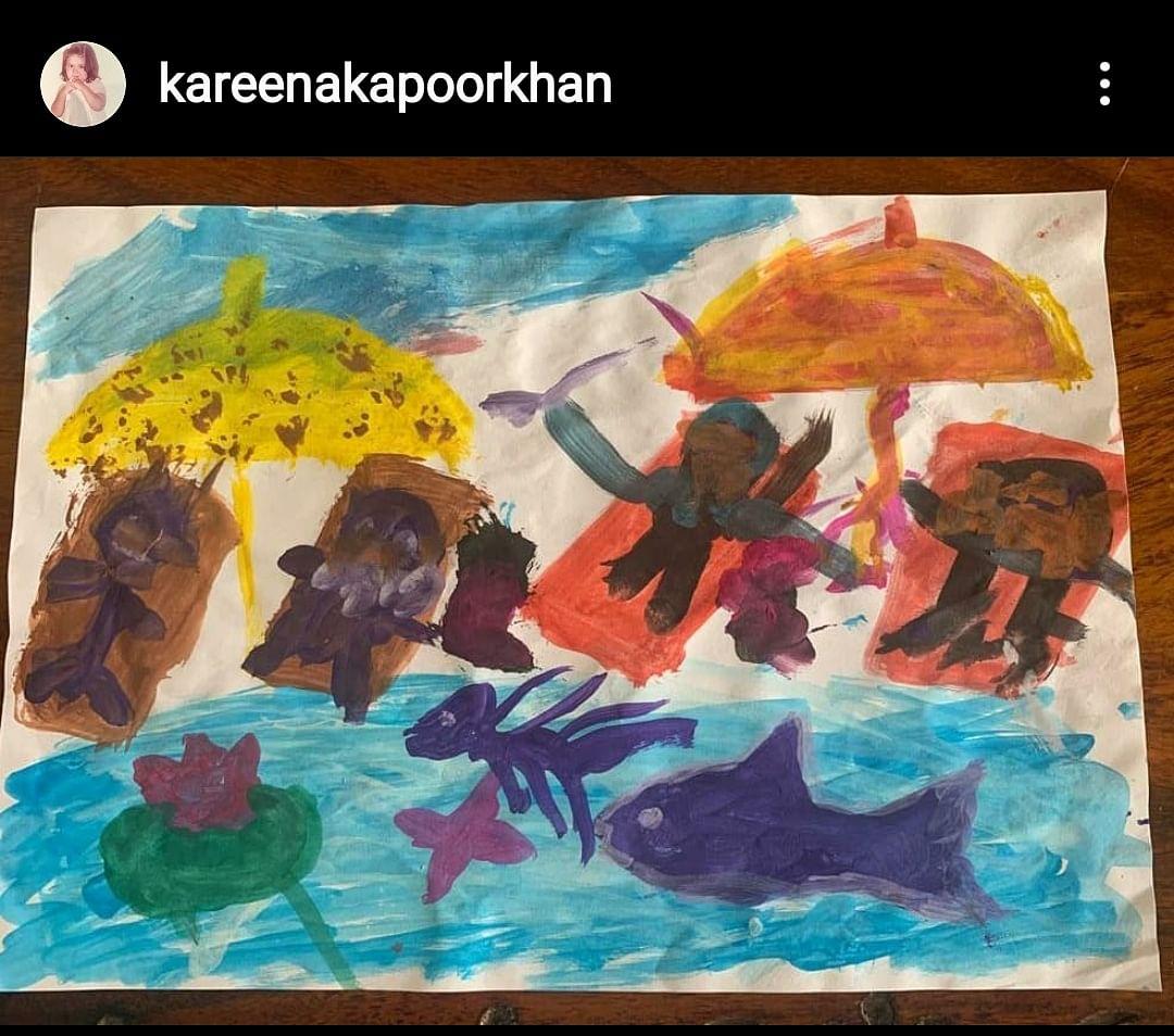 """Sunny days will be here again soon... A day at the beach 💙💙💙 "" - Kareena Kapoor Khan"