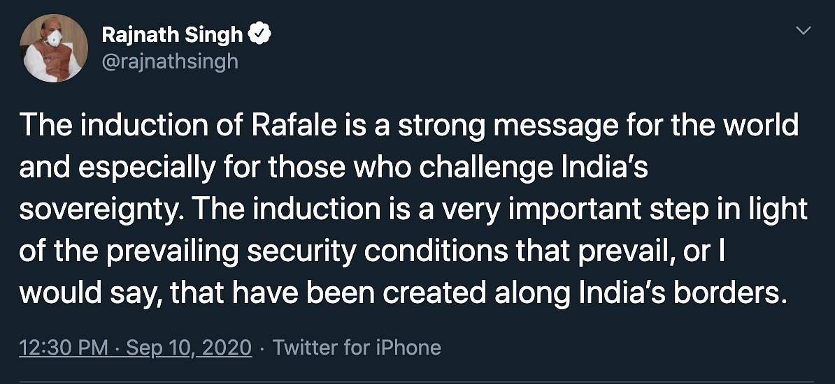 Rafale Jets Inducted in IAF; Rajnath Brings Up 'Border Situation'