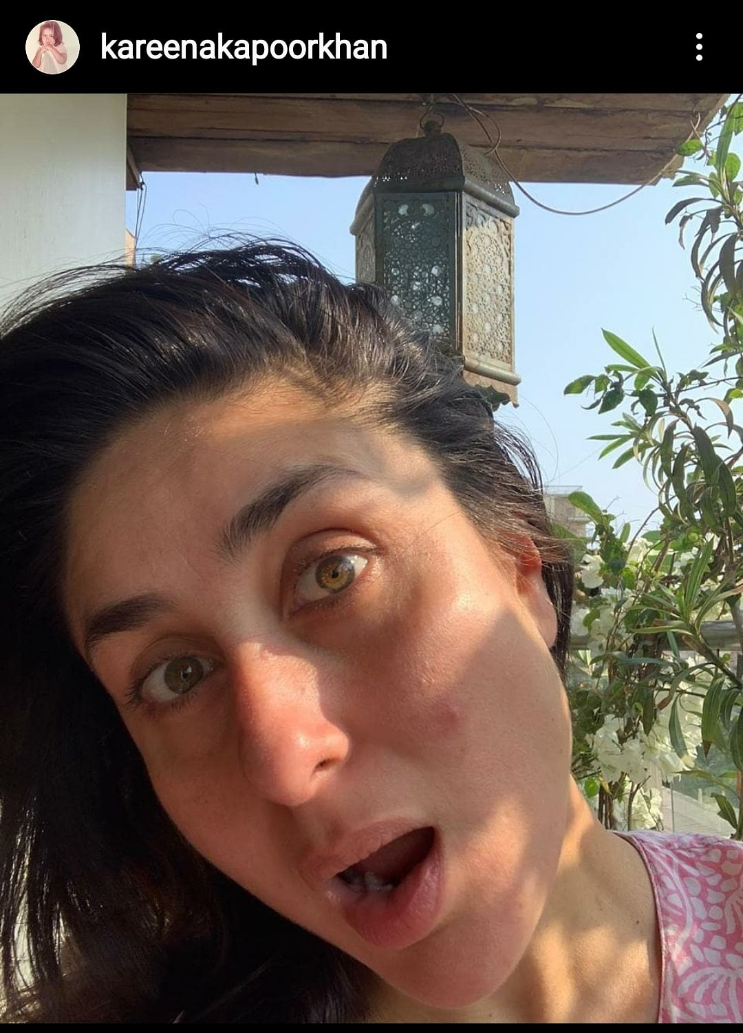 """""""Meanwhile... I just sat there staring in wonder of what was being created. PS: The zit on my face didn't get the memo of no personal visits and social distancing... 🤣 """" - Kareena Kapoor Khan"""