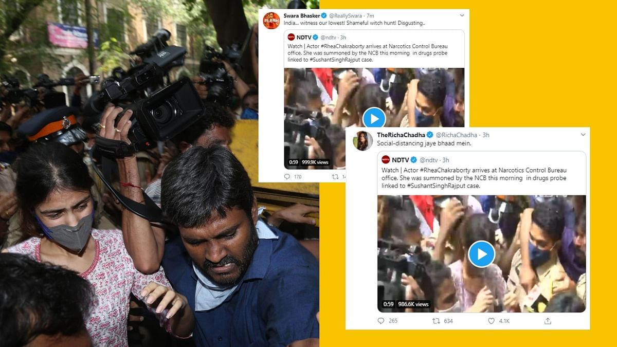 Rhea Chakraborty Gets Mobbed Outside NCB Office, Twitter Reacts