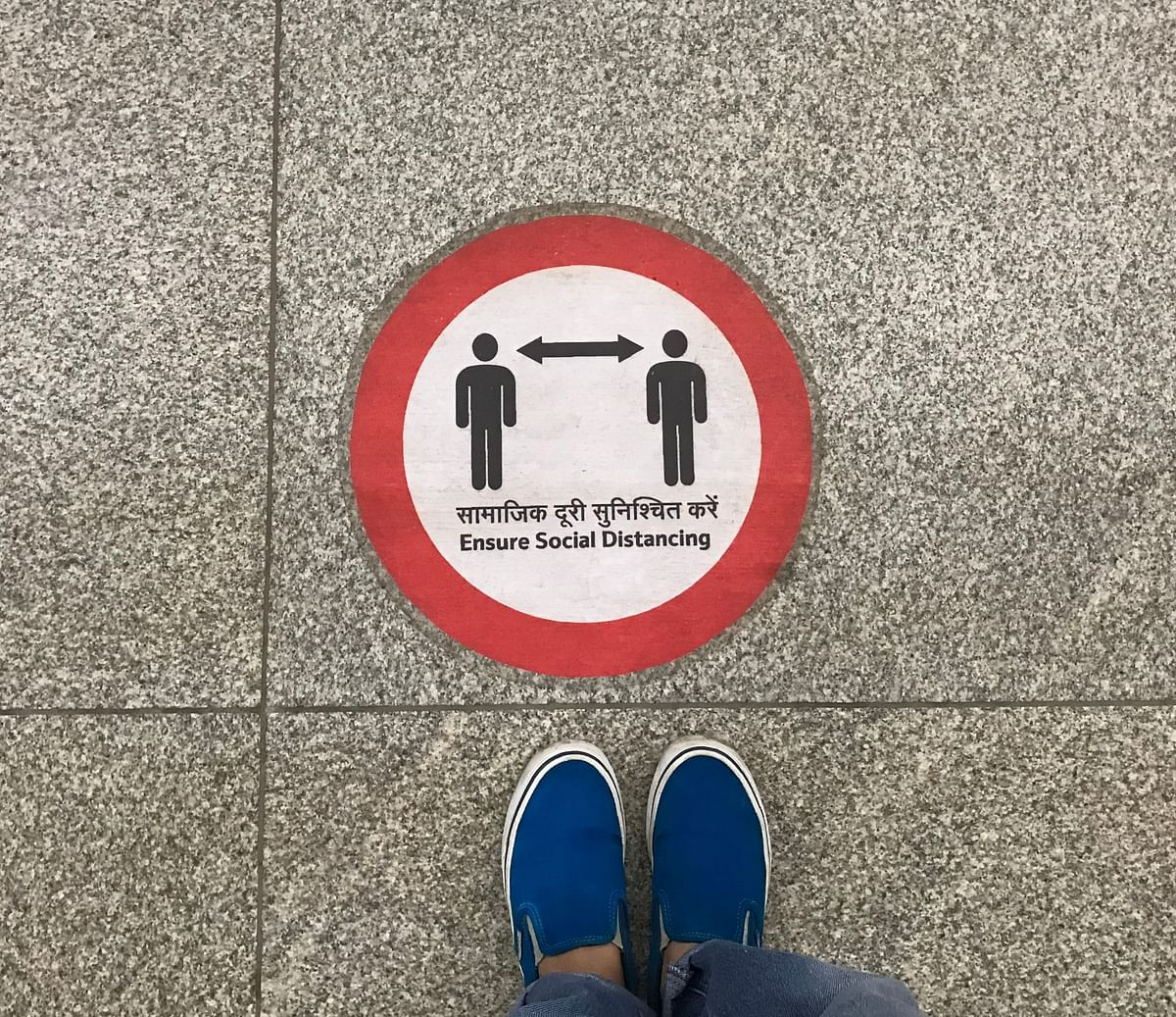 Social distancing signage at the metro stations.