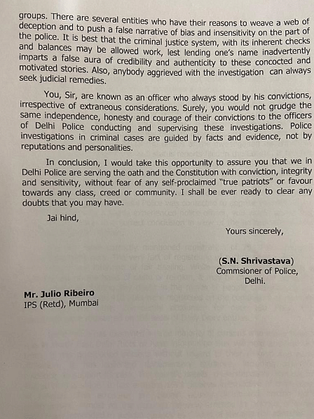 Delhi Police Commissioner's Letter to Julio Ribeiro.