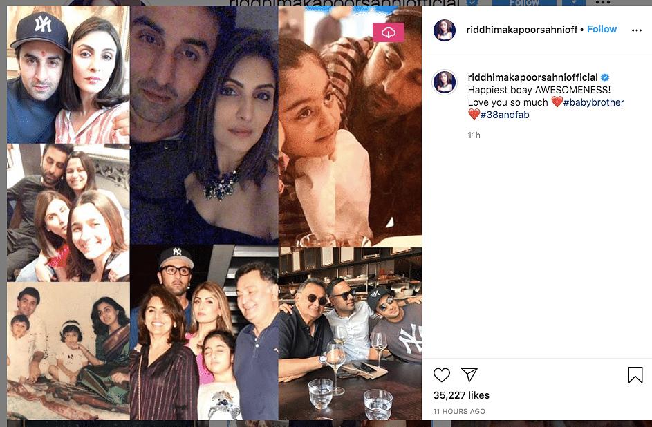 Riddhima Kapoor wishes her brother Ranbir.