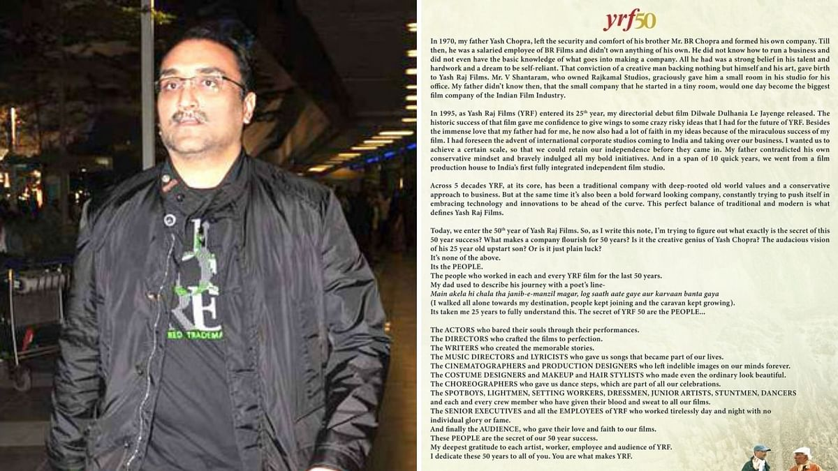 As YRF Clocks 50 Years, Aditya Chopra Pens a Note of Gratitude