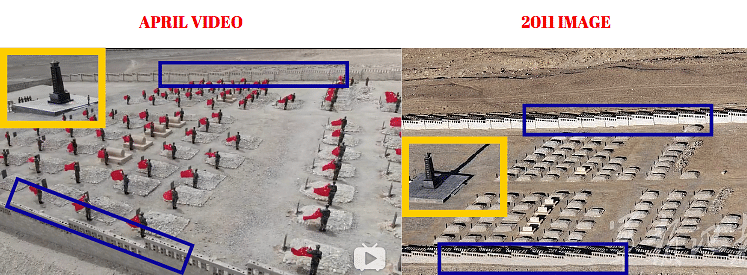 Left: April video. Right: 2011 image of Kangxiwa cemetery.