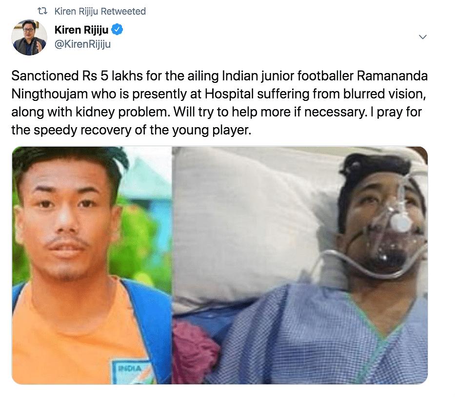 Rijiju Sanctions Rs 5 Lakh for Footballer Suffering Kidney Failure